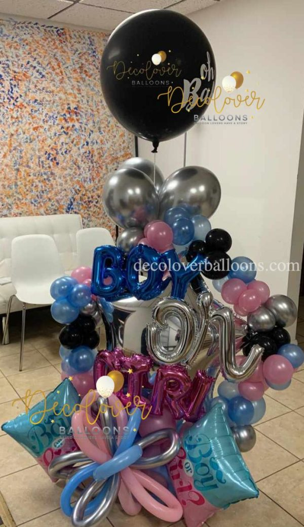Gender Reveal Balloon Bouquet Boy or Girl decoloverballoons.com parties balloon bouquets gender reveal bouquets new baby