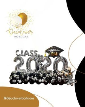 maxi balloon bouquet grad 2020 black silver class white decoration surprises globos gift decoloverballoon
